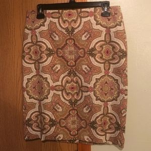 Talbots Size 6P Paisley Knee Length A-Line Skirt